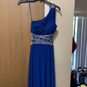 betsey and adam royal blue one shoulder dress